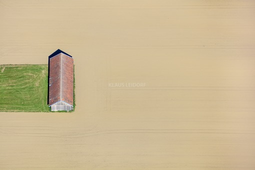 Aerial view of a field barn - Klaus Leidorf Aerial Photography