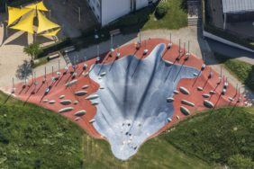 Aerial view of a children's slide at the city park of Waldkirchen - Klaus Leidorf Aerial Photography