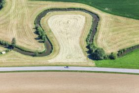 Aerial view of a curve of the Kleine Vils in Lower Bavaria - Klaus Leidorf Aerial Photography