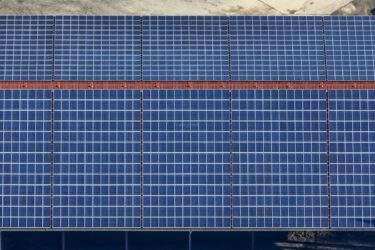 Aerial view of a PV system on a barn roof - Klaus Leidorf Aerial Photography