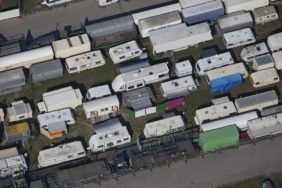 Aerial view of a housing estate for employees during the Oktoberfest 2014 on the Theresienwiese in Munich - Klaus Leidorf Aerial Photography