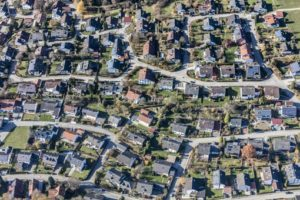 Aerial view of a housing estate with single family houses - Klaus Leidorf Aerial Photography