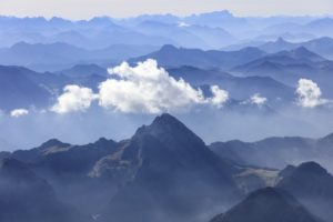 Aerial view of a cloud above the Wendelstein in the Alps - Klaus Leidorf Aerial Photography
