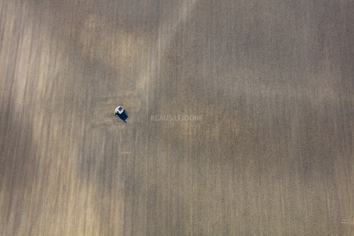 Aerial view of a lonely field chapel in the field - Klaus Leidorf Aerial Photography