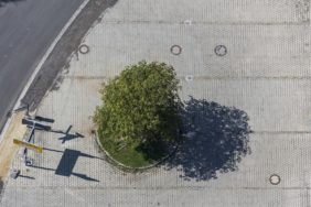 Aerial view of a green island in concrete paving - Klaus Leidorf Aerial Photography