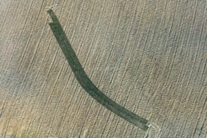 Aerial view of a strange track in the field - Klaus Leidorf Aerial Photography