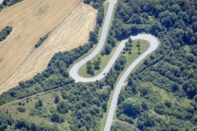 Aerial view of a winding country road near Weikersheim - Klaus Leidorf Aerial Photography