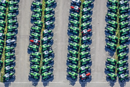 Aerial view of brand new tractors from Deutz-Fahr in Lauingen - Klaus Leidorf Aerial Photography