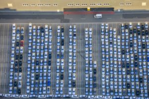 Aerial view of newly produced cars in Dingolfing - Klaus Leidorf Aerial Photography