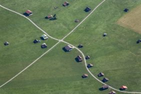 Aerial view of small field barns - Klaus Leidorf Aerial Photography