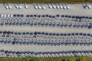Aerial view of new chassis waiting to be converted into motorhomes - Klaus Leidorf Aerial Photography