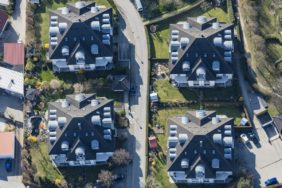 Aerial view of many dormers on four apartment buildings in Abensberg - Klaus Leidorf Aerial Photography