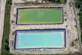 Aerial view of two basins in kaolin mining near Hirschau - Klaus Leidorf Aerial Photography
