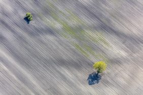 Aerial view of two islands in the farmland - Klaus Leidorf Aerial Photography