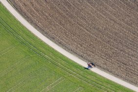 Aerial view of two riders on the field path - Klaus Leidorf Aerial Photography