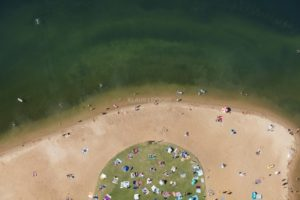 Aerial view of the bathing beach at the big Brombachsee near Pleinfeld - Klaus Leidorf Aerial Photography