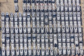 Aerial view of parked car transporters - Klaus Leidorf Aerial Photography