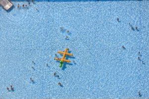 Aerial view of bathers at the open-air swimming pool in Flaring, Erding - Klaus Leidorf Aerial Photography