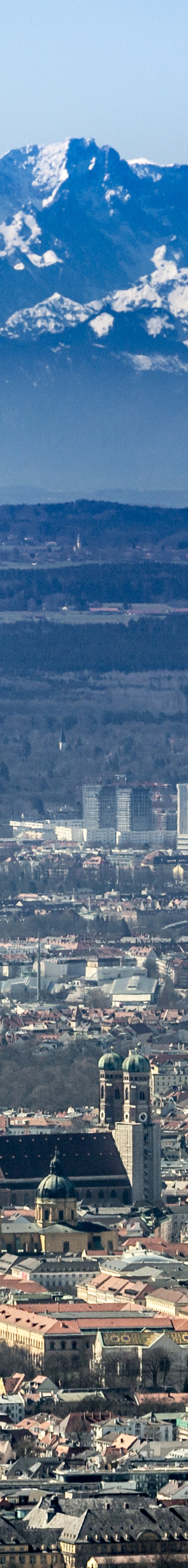 Aerial view of Munich with the Church of Our Lady in front of the Alps - Klaus Leidorf Aerial Photography