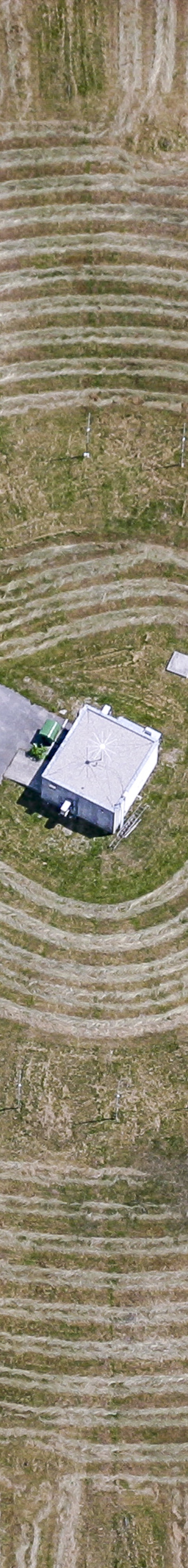 Aerial view of the traces of the mowing at an antenna station - Klaus Leidorf Aerial Photography