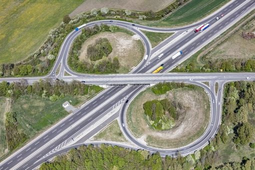 Aerial view of the highway junction Moosburg-Nord on the A92 - Klaus Leidorf Aerial Photography