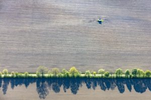 Aerial view of the field chapel in Thaldorf in the plough land and row of trees next to the road - Klaus Leidorf Aerial Photography