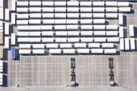 Aerial view of the truck fleet of the kitchen manufacturer Schueller in Herrieden - Klaus Leidorf Aerial Photography