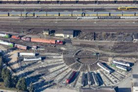 Aerial view of sidings at a railway turntable - Klaus Leidorf Aerial Photography