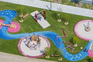 Aerial view of a playground on the grounds of the state horticultural show 2014 in Deggendorf - Klaus Leidorf Aerial Photography
