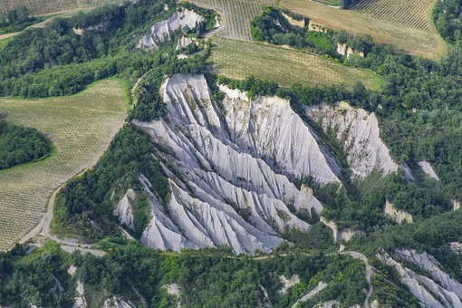 Aerial view of a rock formation in Umbria near Pianlungo, Italy - Klaus Leidorf Aerial Photography