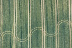 Aerial view of a sine curves farmers painting in a crop field - Klaus Leidorf Aerial Photography