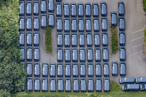 Aerial view of ready to go delivery vans - Klaus Leidorf Aerial Photography