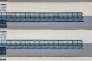 Aerial view of a hall roof in Freiham, Munich - Klaus Leidorf Aerial Photography
