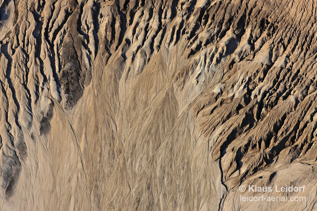 Aerial of erosion on a dump at the brown coal opencast mine near Harbke in Saxony-Anhalt. 2008-07-28
